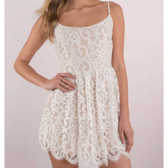 d52b3890d189 Tobi Dresses | Bella White Lace Skater Dress | Poshmark